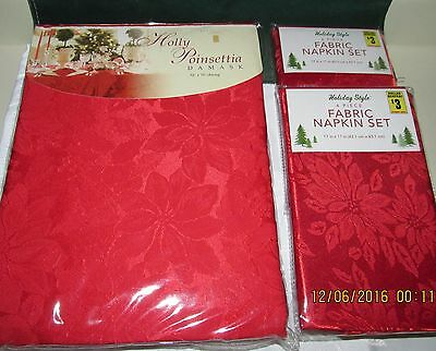 New Red Oblong Damask Tablecloth & 8 Red Napkins Poinsettia Pattern