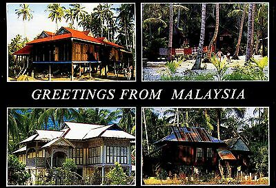 Postcard - Houses In The Malaysian Countryside  Asia 4 Views Posted 1990
