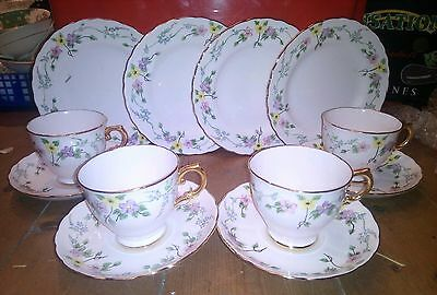 Vintage Stunning Handpainted Tuscan Loudoun View Pink Floral China Tea Set Cups