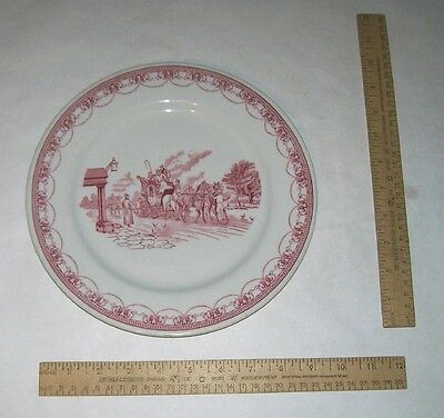 Red on White COLONIAL SCENE PLATE - Coach - IROQUOIS CHINA Restaurant Ware