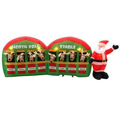 Christmas Airblown Inflatable 11 ft long Lighted  8  REINDEER STABLE   NIB