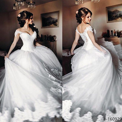 Gorgeous Cinderella Sweetheart Lace Strap Wedding Dresses Bridal Ball Gown