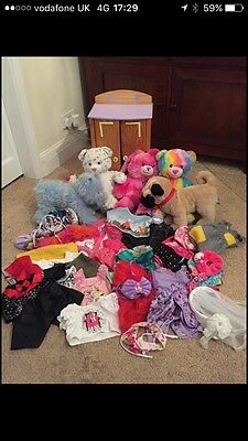 Large Bundle Of Build A Bear's Wardrobe Clothes And Teddies