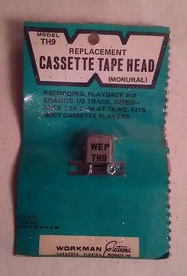 NOS * Replacement Audio Cassette Tape Head * TH-9 * MONURAL * NEW * Workman