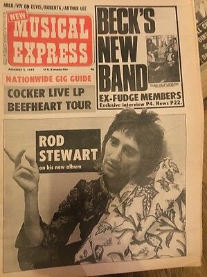 NEW MUSICAL EXPRESS NME 5 August 1972 Rod Stewart Jeff Beck Group