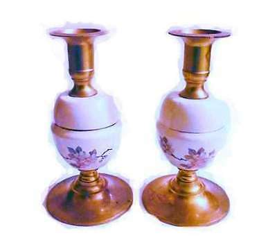 Vintage/set Candle Holders Brass/Porcelain  Hand painted Cherry pink Blossom