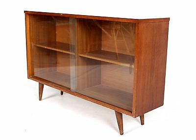 Retro Vintage Bookcase Teak Glass Display Record Cabinet Glazed 1960s 70s