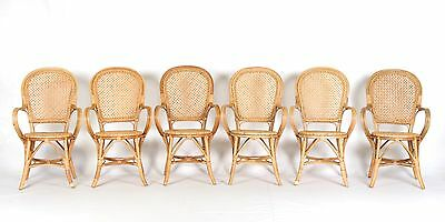 6 Wicker Chairs Armchairs Dining Chairs Set Six French Rattan
