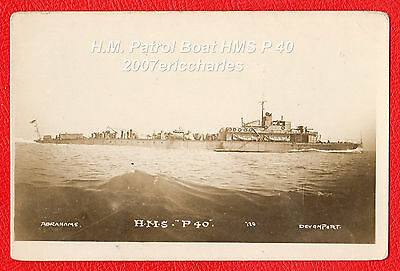 P/C Royal Navy Patrol Boat P.40 off Plymouth during WW1. Built White, Cowes IOW.