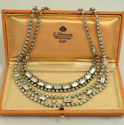 Collection of Vintage Clear Diamante Crystal Rhinestone Choker Necklace Job Lot