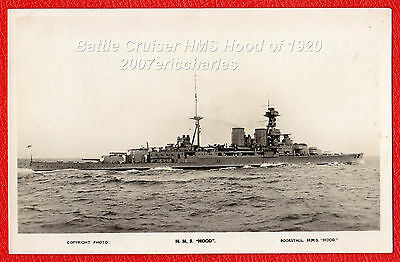 P/C Royal Navy Battle Cruiser HMS Hood at Sea in early 1920's. Hood Bookstall