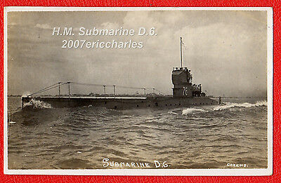 P/C Royal Navy Submarine D6 leaving Portsmouth. Sunk by UB73 off Ireland 1918