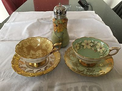 Royal Stafford cups and saucers and sugar shaker