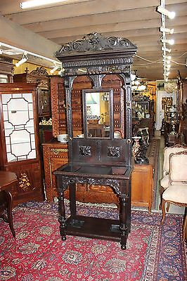 Exquisite Antique French Renaissance Carved Hall Tree / Stand / Coat Rack