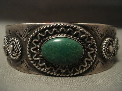 Early Vintage Navajo Hand Tooled Cerrillos Turquoise Silver Bracelet