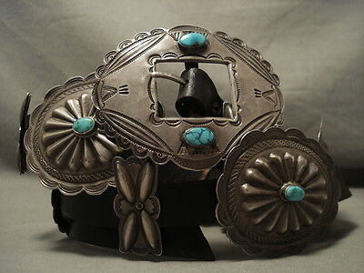 Museum Quality Early 1900's Vintage Turquoise Navajo Hand Tooled Concho Belt