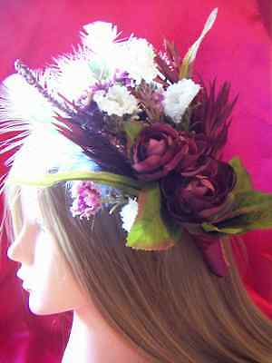 Burgundy Flower Garden LARGE Hair Clip Fascinator Renaissance Burlesque