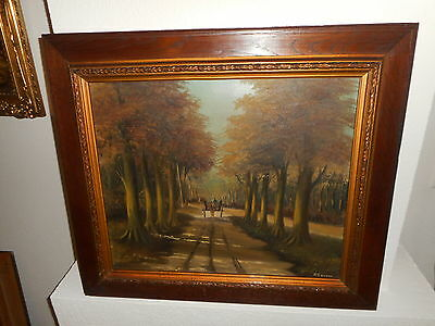 Very old oil painting,{ man with wagon riding in the woods, is signed } Antique!