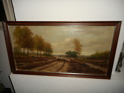 Very old oil painting, Sherperd with his flock of sheep, is signed, and antique!