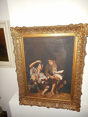 Old oil painting,{ Hungry street boys are eating, is signed, great frame! }.
