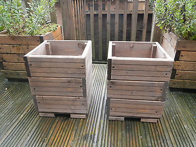 2 x square decking style wooden garden planters plant pots