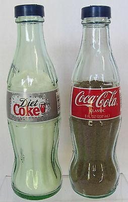 Coca-Cola Classic Red Label and Diet Coke Bottle Salt & Pepper Set Shakers