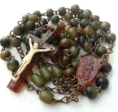 "VTG/Antique(?) Cattle Horn Rosary • IRELAND •19.5"" Celluloid Ctrpc & Crucifix NR"