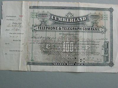 1884 Cumberland Telephone and Telegraph Co 10 Aktien