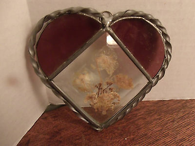 Beautiful Stained Glass--Heart-Shaped--Pressed Dried Flower