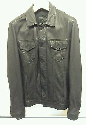 Mens New All Saints Black Leather Jacket