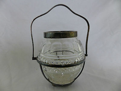 antique biscuit cracker jar early pattern glass & silverplate swing handle i f s