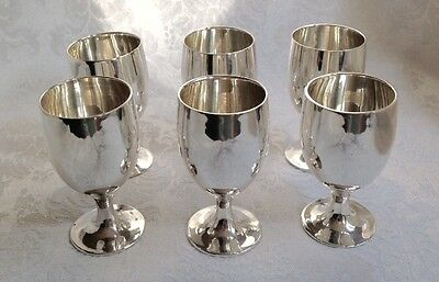 Leonard Silver Co Silver Plate Miniature Cordial Shot Glass Toasting Goblets (6)
