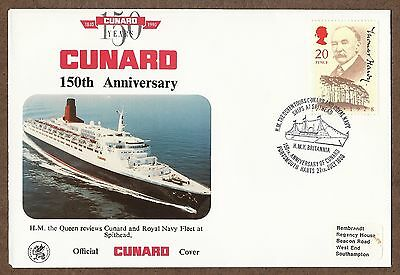 COMMEMORATIVE COVER FOR CUNARD'S 150th ANNIVERSARY POSTMARKED ON ROYAL YACHT