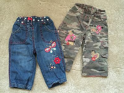 Baby Girls Trousers X 2 - Size 3-6 Mths
