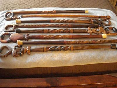 "Vintage Hand Carved Wooden Canes/walking Sticks (34""- 36"" - Made In Kenya)"