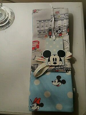 NEW Cath Kidston Disney Mickey Mouse In London Tea Towels x 2