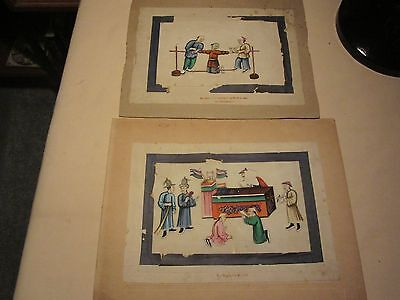 unusual chinese rice paper/pith paintings x2 unframed
