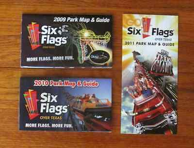 (3) 6 Six Flags Over Texas 2009 2010 2011 Park MAP Guide Picture Brochure Maps
