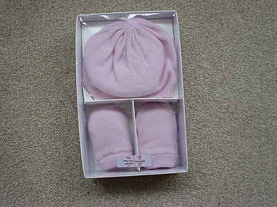 Cashmere Pretty Baby Pink Hat And Mittens New In Box 100% Cashmere