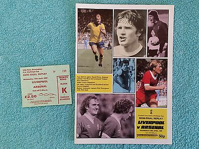 1980 - FA CUP SEMI FINAL REPLAY PROGRAMME + MATCH TICKET - LIVERPOOL v ARSENAL a