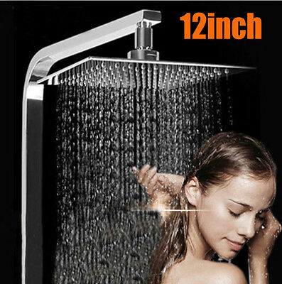 "304mm 12"" Square Chrome Stainless Steel Water Rainfall Overhead Bath Shower Head"