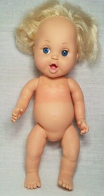 "Vintage 1990 Galoob 13"" Baby Face Doll So Delightful Dee Dee Blonde Lavender Eye"