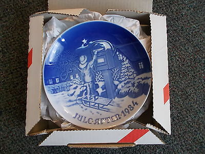 Christmas Plate Bing and Grondahl 1984 The Christmas Letter Blue Vintage Plate