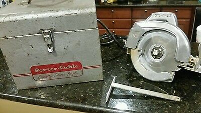 """VINTAGE PORTER CABLE 6 1/2"""" MODEL 66  CIRCULAR SAW ROCKWELL w/ CASE fence"""