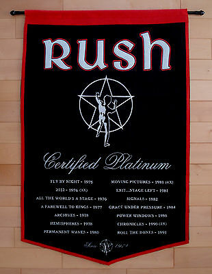 RUSH CERTIFIED PLATINUM 37'' X 24'' Cloth Fabric Banner NEIL PEART LEE LIFESON
