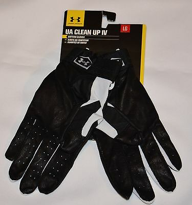 Mens New Under Armour Clean Up IV Batting Gloves Black Size L