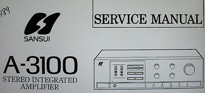 Sansui A-3100 Stereo Integrated Amp Service Manual Inc Schems Printed English
