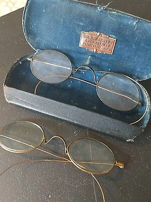 2 pairs antique eye glasses and marked velvet lined case