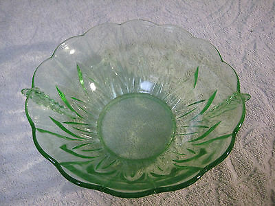 Large Pressed Green Glass Deco Bowl With Handles