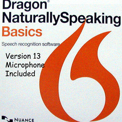 NUANCE Dragon Naturally Speaking 13 Basics +Microphone Headset Voice Recognition